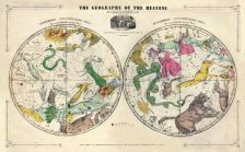 Geography of the Heavens, Northern - Southern, Atlas Designed to Illustrate the Geography of the Heavens 1835